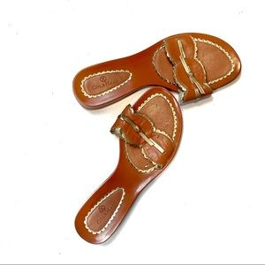 Cole Haan Orange and Gold Sandals Bow Detail